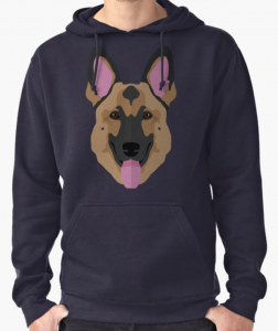 German Shepherd Art Graphic Pink Ears Pullover Hoodie