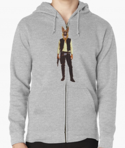 German Shepherd Star Wars Han Solo Zip Hoodie