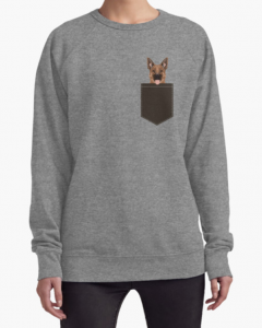 German Shepherd Pocket Patch Cartoon Lightweight Sweatshirt